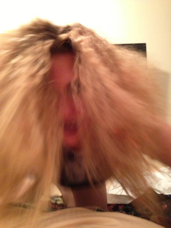 blonde afro hair