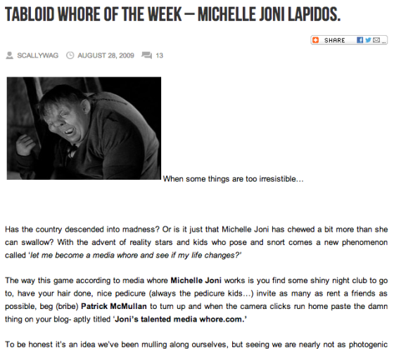 tabloid whore of the week michelle joni lapidos